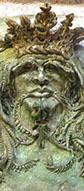 Sculpture made with clay, a greenman